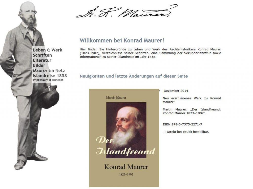 Die Konrad-Maurer-Seite im alten Design