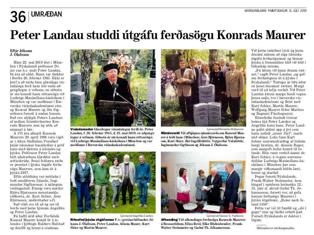 Morgunblaðið-Artikel von Jóhann J. Ólafsson